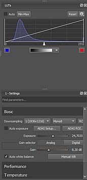 Ximea CamTool has the basic settings available