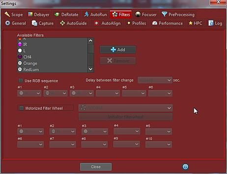 Ustawienia filtrów w FireCapture
