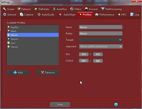 Ustawienia profili w FireCapture
