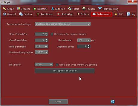 Ustawienia wydajności w FireCapture