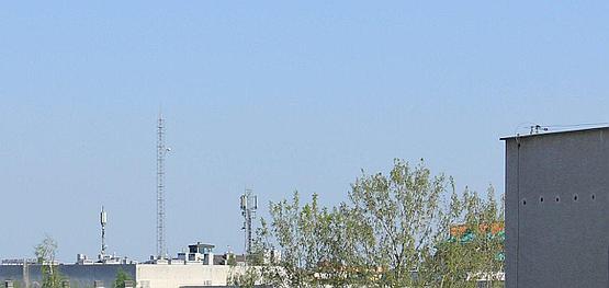 Fotografia anteny (tej obok drzewa) wykonana lustrzanką