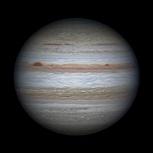 Zdjęcie Jowisza wykonane amatorskim sprzętem z balkonu