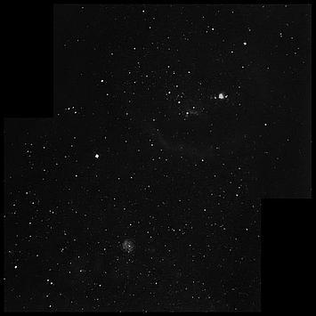 Mgławica Oriona, Mgławica Rozeta i inne złapane za pomocą DMK z obiektywem przemysłowym i filtrem H-alpha.