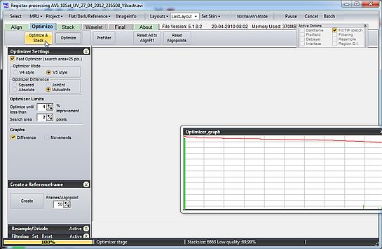 Stackowanie klipu w Registax 5