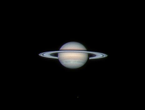 Zdjęcie LRGB Saturna wykonane z wykorzystaniem korektora dyspersji