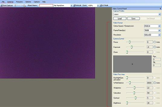 Interfejs SharpCap dla webcama MS Lifecam Cinema