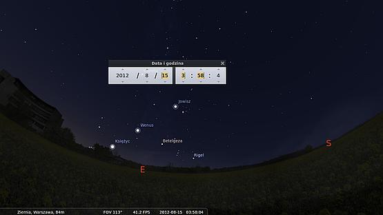 Mapa nocnego nieba w Stellarium. Na wschodzie widać Jowisza, Wenus i wschodzący Księżyc.