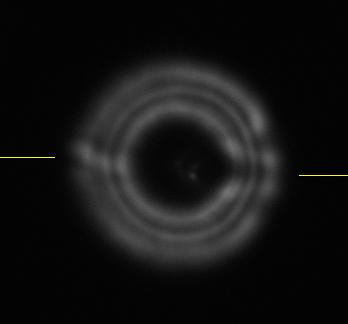 Prąd powietrza niewychłodzonego SCT widoczny na obrazie rozostrzonej gwiazdy.