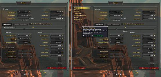 Customizing settings - lowering effects to regain some FPS while keeping the detail and view distance
