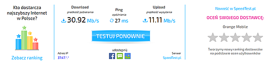 Speedtest dla Orange 4G + Netgear