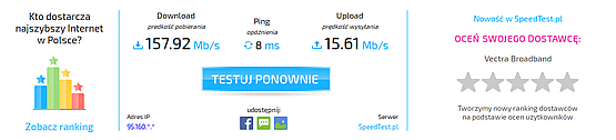 Speedtest for the local cable Internet