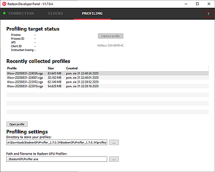 Captured RGP profiles