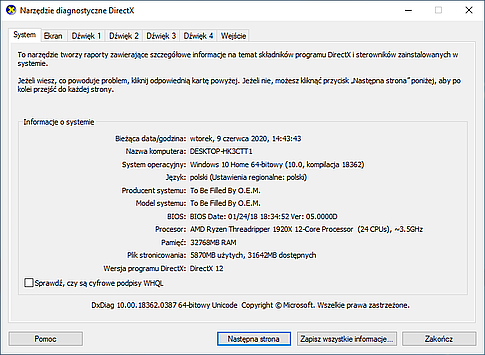 DxDiag contains DirectX info and logs. Save everything as a text file using the button from the bottom right menu