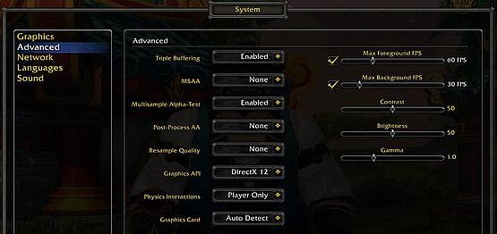 In WoW System settings check the advanced tab - to see what GPU is used or what FPS limits are set.