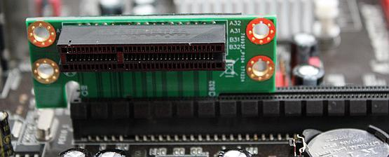 PCB riser can be connected to the motherboard slot but it will lack any mechanical securing connection