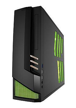 Azza 1317-02 is a thin case with vertical GPU mounting next to side panel mesh