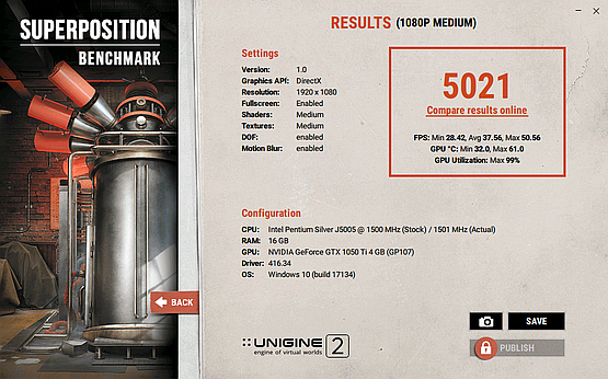 Superposition benchmark 1080p GTX 1050 Ti