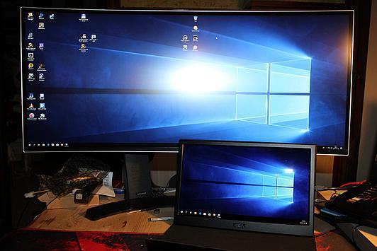 13,3 inch next to 34 inch 21:9 display