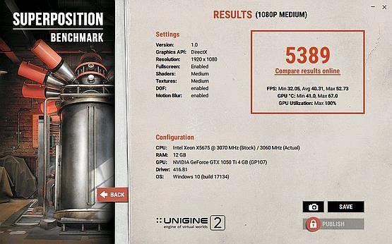 Superposition Benchmark - jeden procesor