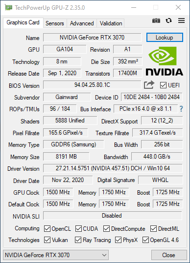 GPU-Z listing with two NVMe drives in the system