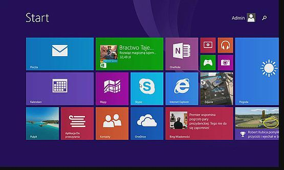 Windows 8.1 main screen captured from a tablet