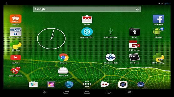 Android tablet desktop captured via the device