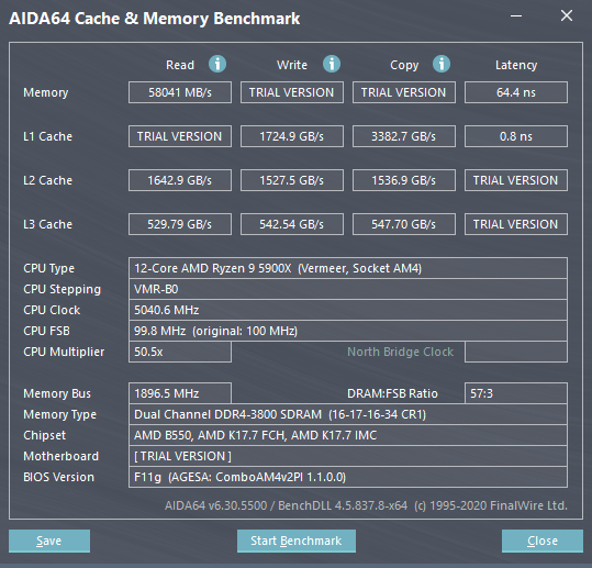 Aida64 RAM benchmarks 4x8 Patriot Viper Steel