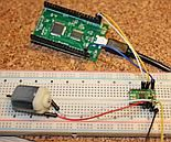 pyMCU controlling a DC motor via DRV8833 board
