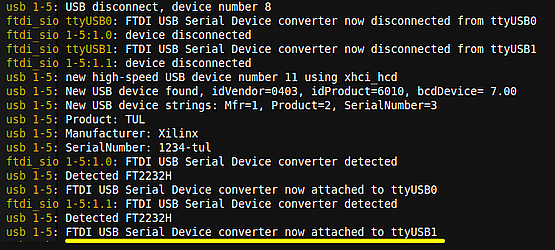 USB serial device on Linux after connecting PYNQ-Z2