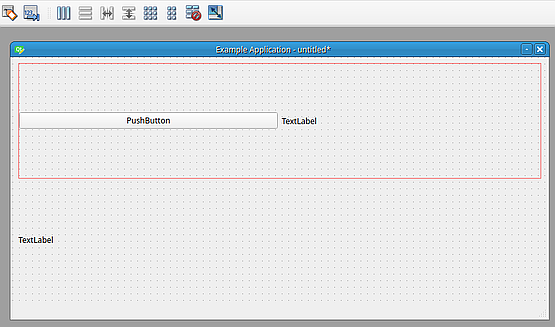 Then I set a horizontal layout for the window using top bar option