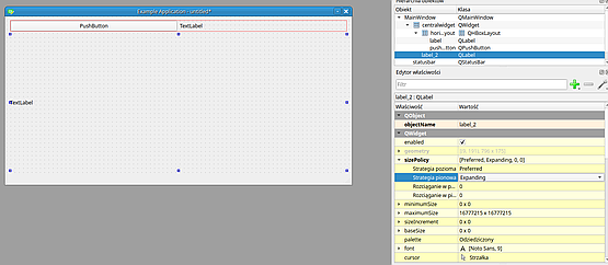 I want the image label to expand vertically so I change it sizePolicy to match the desired effect