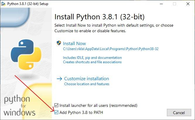 Uruchamiamy instalator i zaznaczamy opcję dodania Pythona do ścieżek systemowych
